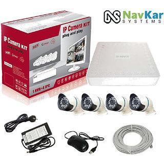 Navkar 4Pc 1.3 MP IP Camera + NVR + Wire for IP CCTV Camera Kit High Quality