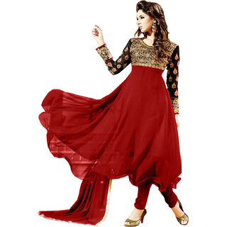 Ecoco Fashion Black And Red Anarkali Suit