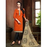 Varanga Orange Printed Dress Material with Matching Dupatta KFRSL4005A