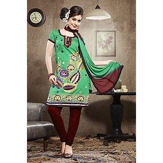 Gaurangi Green Cotton Embroidered Salwar Suit Dress Material