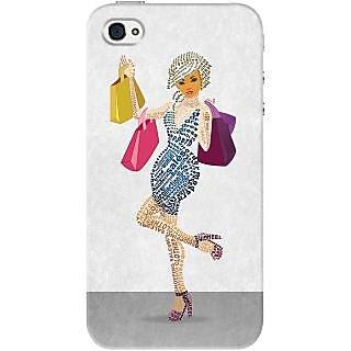 Kasemantra Shopaholic Girl Case For Apple Iphone 4-4S