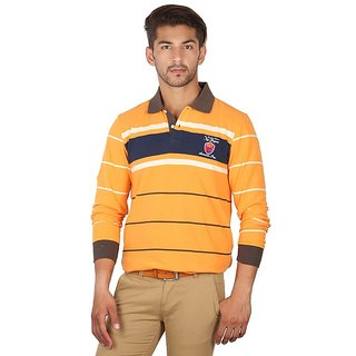 American Swan Yellow Striped Polo T Shirt