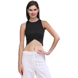Xoxo Women Cotton Black Solid Casual Tops