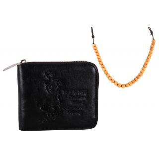 Jstarmart Black Zip Wallet & Stylish Mala JSMFHWT0400