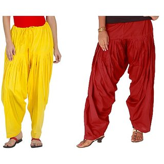 YAARI Cotton Patiala Combo YELLOW&RED(Pack of 2)
