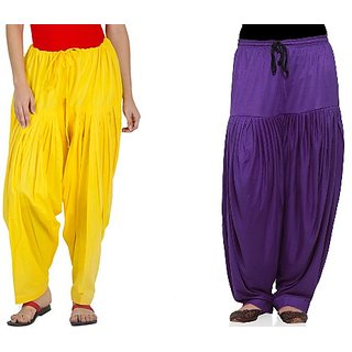 YAARI Cotton Patiala Combo YELLOW&VIOLET(Pack of 2)