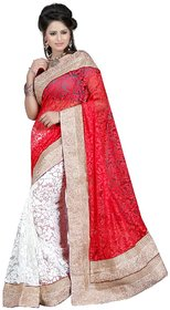 Ansu Garments Multicolor Linen Embroidered Saree With Blouse