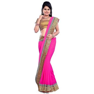 Janasya Pink Georgette Plain Saree With Blouse