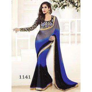 Blue & Black Designer Saree by DHnet