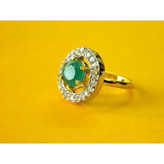 Bijou American Diamond Adjustable Emerald Green Ring