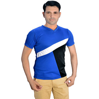 Branded blue sports polyester v neck t shirt for Branded v neck t shirts