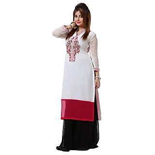 Dhavani White and Pink Handwork georgette Kurti