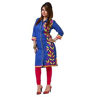 Dhavani Blue Linen Embriodery Designer Kurti