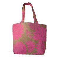Foonty Pink Print Jute Bag