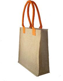 Foonty Orange Handle Jute Bag