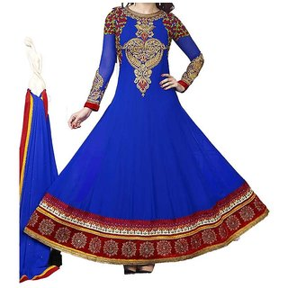 Pure Georgette Anarkali Semi stitched Dress Material