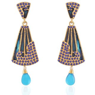 Accessher Black And Blue Chandelier Earring