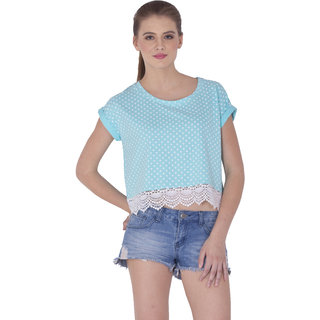 SERA LADIES Lace Crop TEE Lt Turquoise