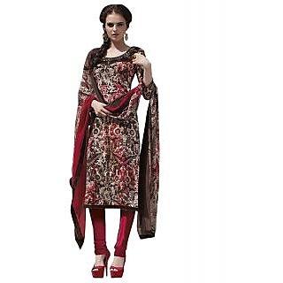Sinina Designer Semi-Stitched Crepe Embroidered Dress Material