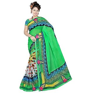 Sitaram Nice Green Faux Georgette Embroidered Saree