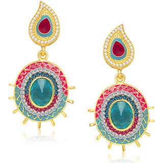 Kriaa Elegant Red & Blue Meenakari Earrings  -  1304610