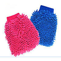 Autofurnish Car Cleaning Glove Cloth Micro Fibre Hand Wash (Multicolor pack 2)