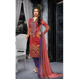 Multicolor Printed Cotton Straight Suit