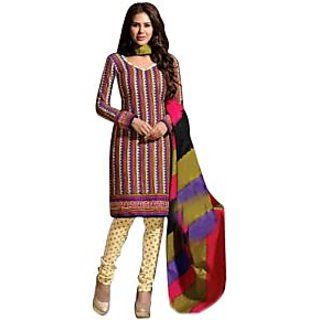Drapes Brown And Blue Cotton Printed Salwar Suit Dress Material (Unstitched)