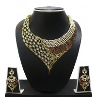 Zaveri Pearls Non Plated Multicolor Alloy Necklace Set For Women