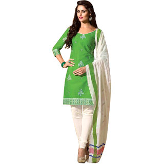 Drapes White And Green Cotton Plain Salwar Suit Dress Material (Unstitched)