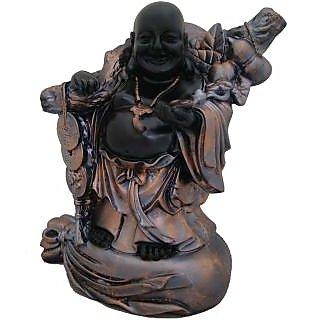 Divya Mantra Feng Shui 9 Inches Antique Finish Laughing Buddha-Dvym0001234