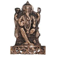 Divya Mantra Ganesha Figure Wall Decorative Antique Cop
