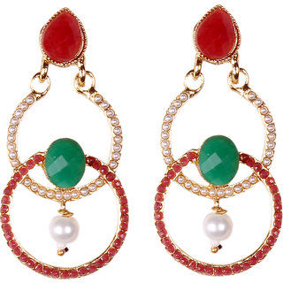 Ruby Embedded With Exquisite Hand Work Of Pearl Earrings