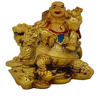 Feng Shui Laughing Buddha On Dragon Tortoise