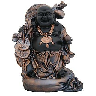 Divya Mantra Feng Shui 9 Inches Antique Finish Laughing Buddha-Dvym0001232
