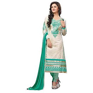 Khushali Presents Embroidered Cotton Unstitched Dress Material(Cream,Rama)