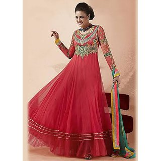 Shop Pink Net Frock Suit Online - Shopclues bf9b65b36