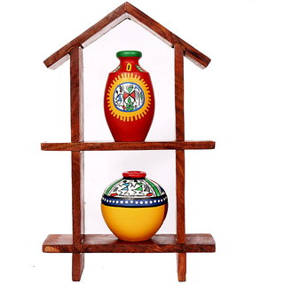 Indikala Hut Shaped Frame with Two Elegant Pots