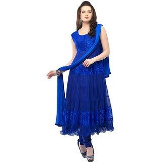 nk fashion self designer blue net brachho dress material