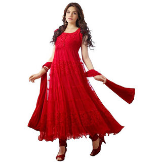 nk fashion self designer  red net brachho dress material