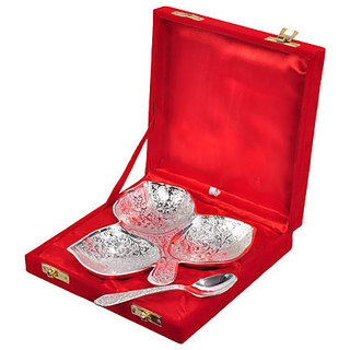 Silver Mouth Freshner Bowl Set with Spoon