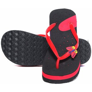 Women's Stylish Eva Rubber Flip Flops Red And Black