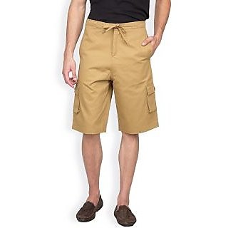 Hypernation Khaki Color Casual Three Fourth For Men