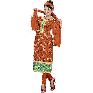 Vastram Orange Net Unstitched Dress Material