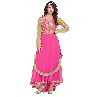 Jiya Presents Georgette And Soft Net Multi Embroidered Semi-Stitched Gown