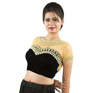 e3ac42f1 Black velvette and nude colour net blouse with front and back handwork.