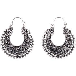 Oxodised Silver Chand Bali Type Earring.