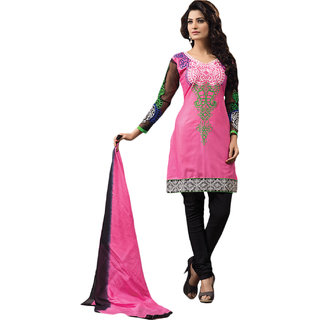 Sinina Pink Color Designer Embroidered Cotton Unstitched Dress Material