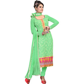 Vastram Green Net Unstitched Dress Material