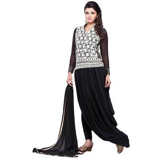 Vastram Black Faux Georgette Dori Embroidery  Semi Stitched Anarkali Salwar Suit